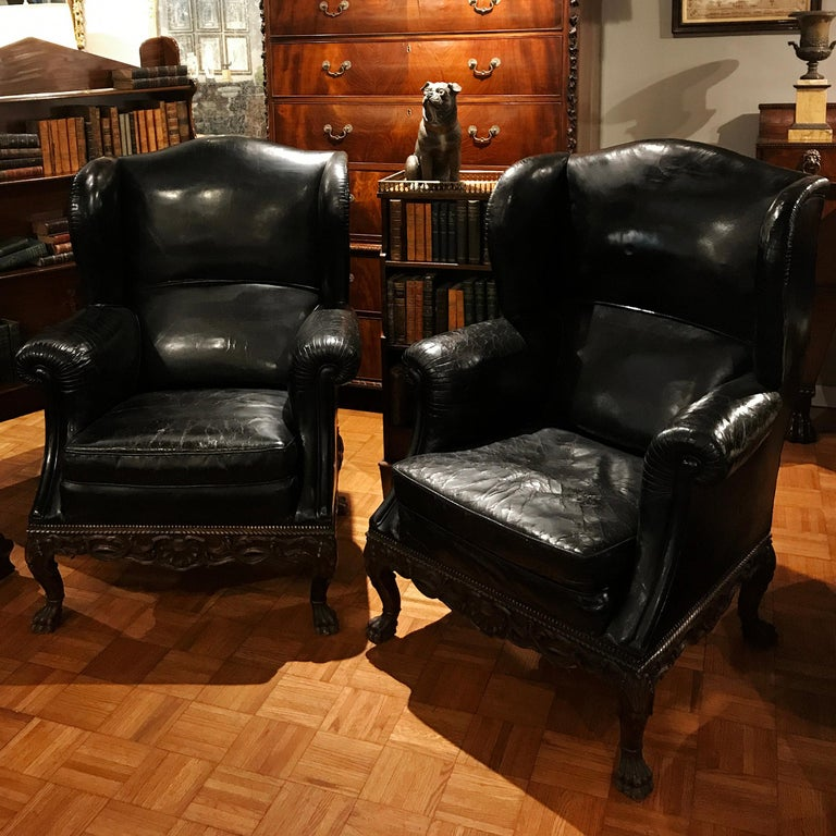 High Victorian Pair of 19th Century Black Leather Wing Back Armchairs For Sale