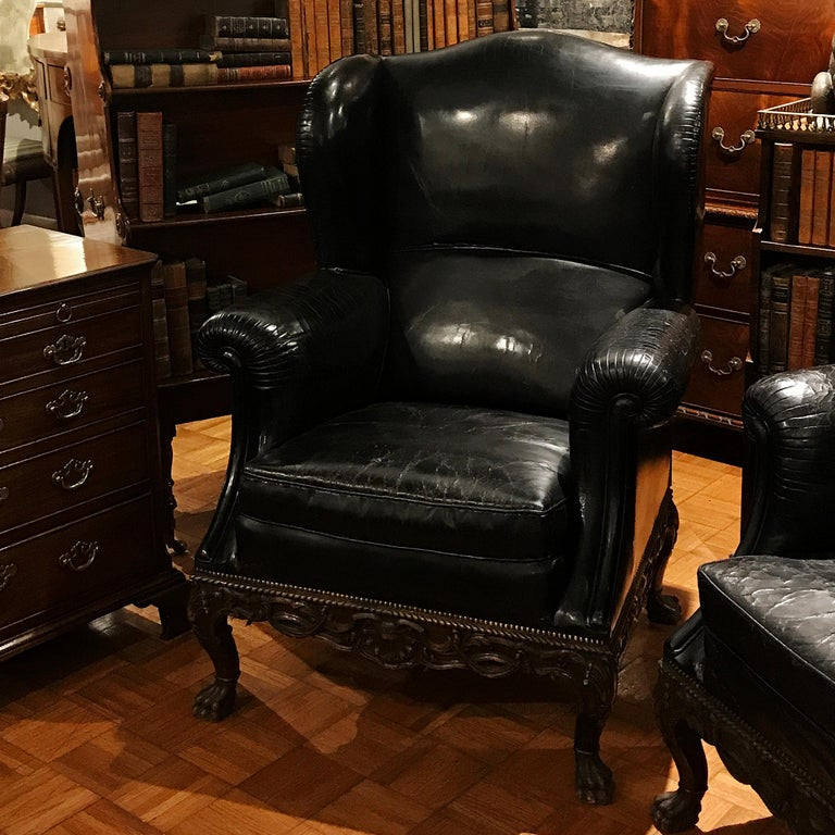 Pair of 19th Century Black Leather Wing Back Armchairs In Excellent Condition For Sale In New York, NY