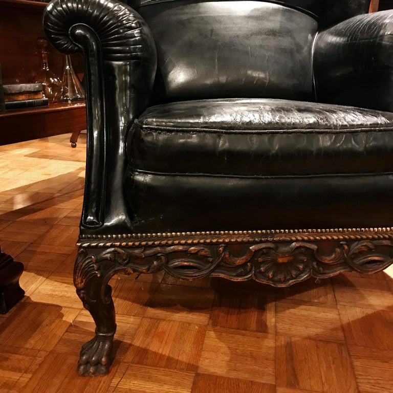 Pair of 19th Century Black Leather Wing Back Armchairs For Sale 1