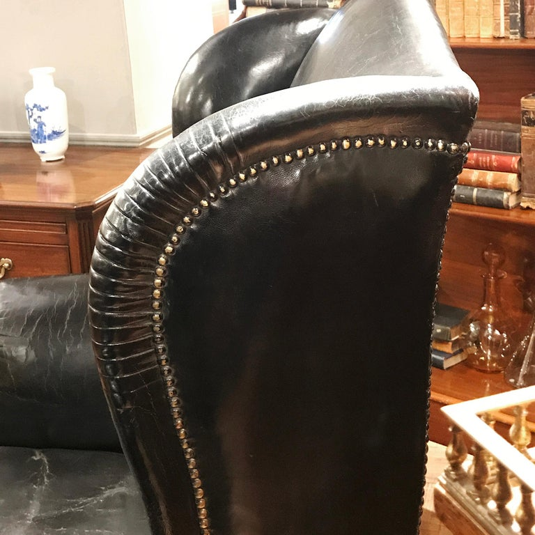 Pair of 19th Century Black Leather Wing Back Armchairs For Sale 2