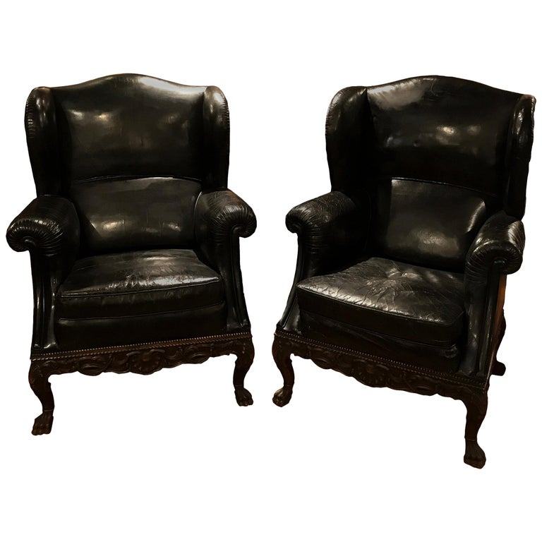 Pair of 19th Century Black Leather Wing Back Armchairs For Sale