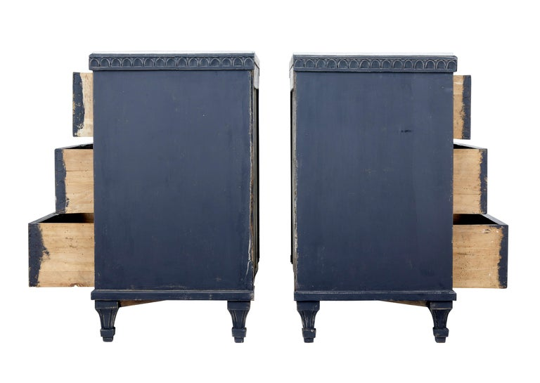Pair of 19th Century Black Scandinavian Painted Chest of Drawers 3