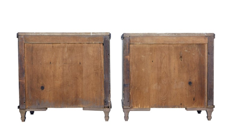 Pair of 19th Century Black Scandinavian Painted Chest of Drawers 4