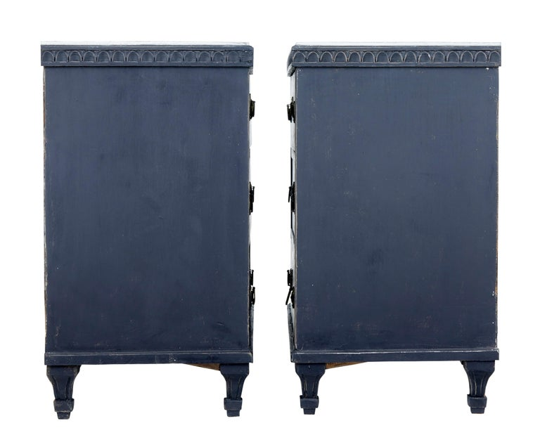 Pair of 19th Century Black Scandinavian Painted Chest of Drawers 5