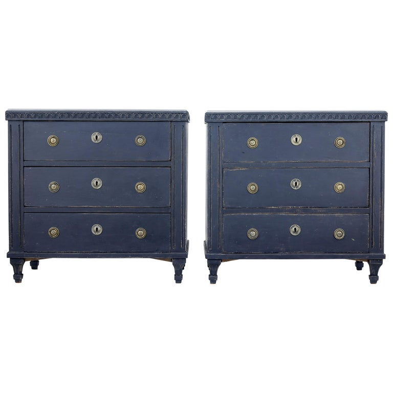Pair of 19th Century Black Scandinavian Painted Chest of Drawers 1
