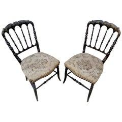 """Pair of 19th Century Black Wood """"Chiavari"""" Italian Chairs"""