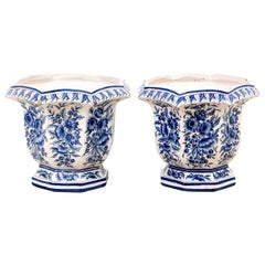 Pair of 19th Century Blue and White Floral Glazed Jardinières