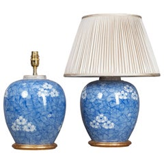 Pair of 19th Century Blue and White Ginger Jar Lamps
