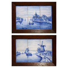 Pair of 19th Century Blue and White Painted Faience Delft Tiles in Oak Frames