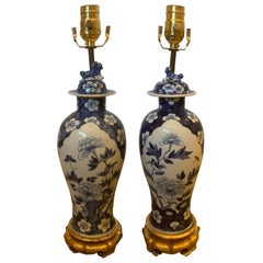 Pair of 19th Century Blue and White Porcelain Vases as Lamps on Custom Bases