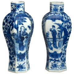 Pair of 19th Century Blue and White Porcelain Vases