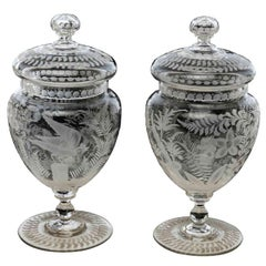 Pair of 19th Century Bohemian Crystal Vases with Cover Antique Austrian Jars