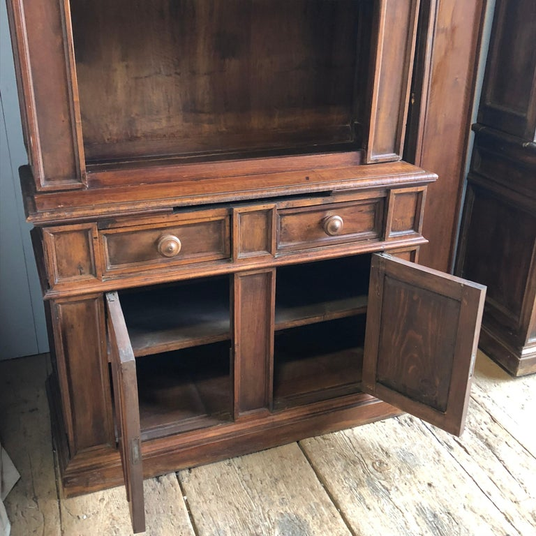 Pair of 19th Century Bookcase Cabinets with Center Shelves For Sale 5