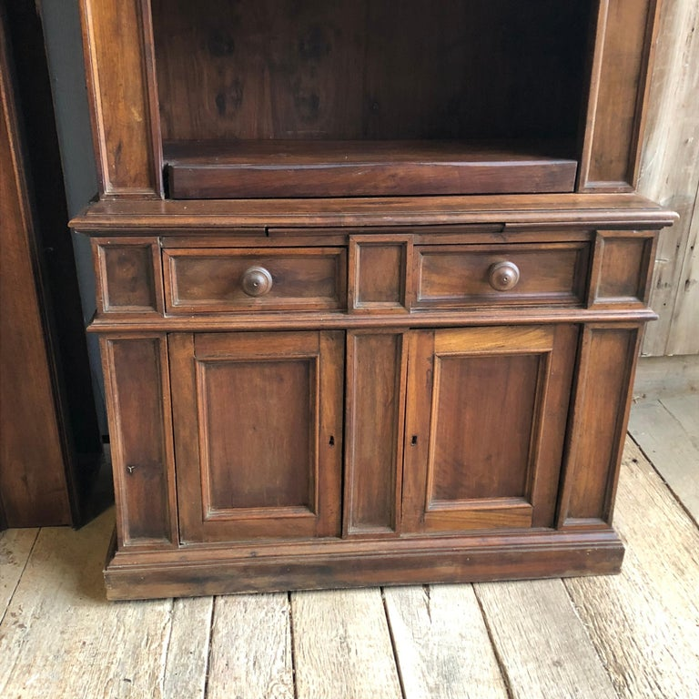 French Pair of 19th Century Bookcase Cabinets with Center Shelves For Sale