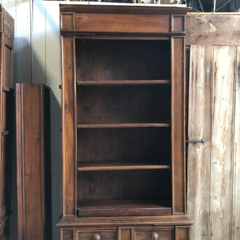 Pair of 19th Century Bookcase Cabinets with Center Shelves In Good Condition For Sale In Doylestown, PA