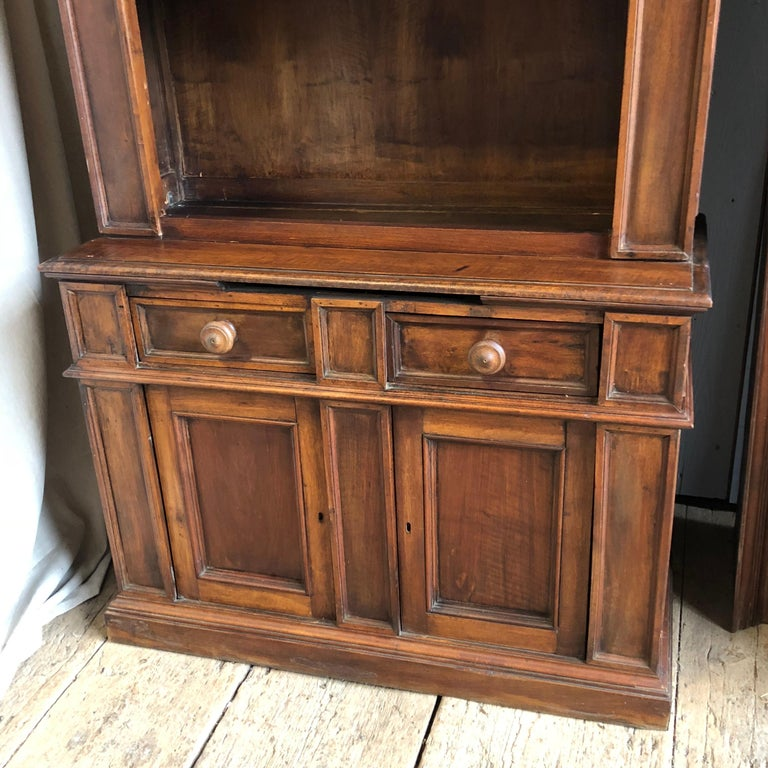 Walnut Pair of 19th Century Bookcase Cabinets with Center Shelves For Sale