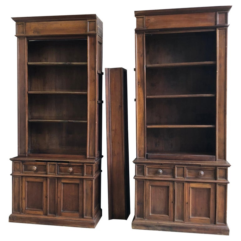 Pair of 19th Century Bookcase Cabinets with Center Shelves For Sale