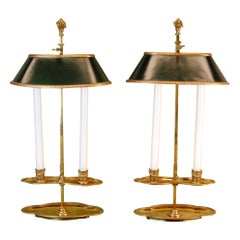 "Pair of 19th Century Bouillotte Candle Lamps Stamped ""Baguès"" in Gold Finish"