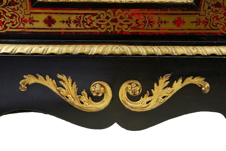 Brass Pair of 19th Century Boulle Pier Cabinets For Sale