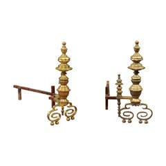 Pair of 19th Century Brass Andirons with Scroll Feet