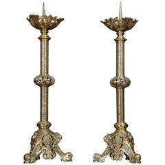 Pair of 19th Century Brass Candlesticks