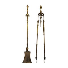 Pair of 19th Century Brass Fire Tools