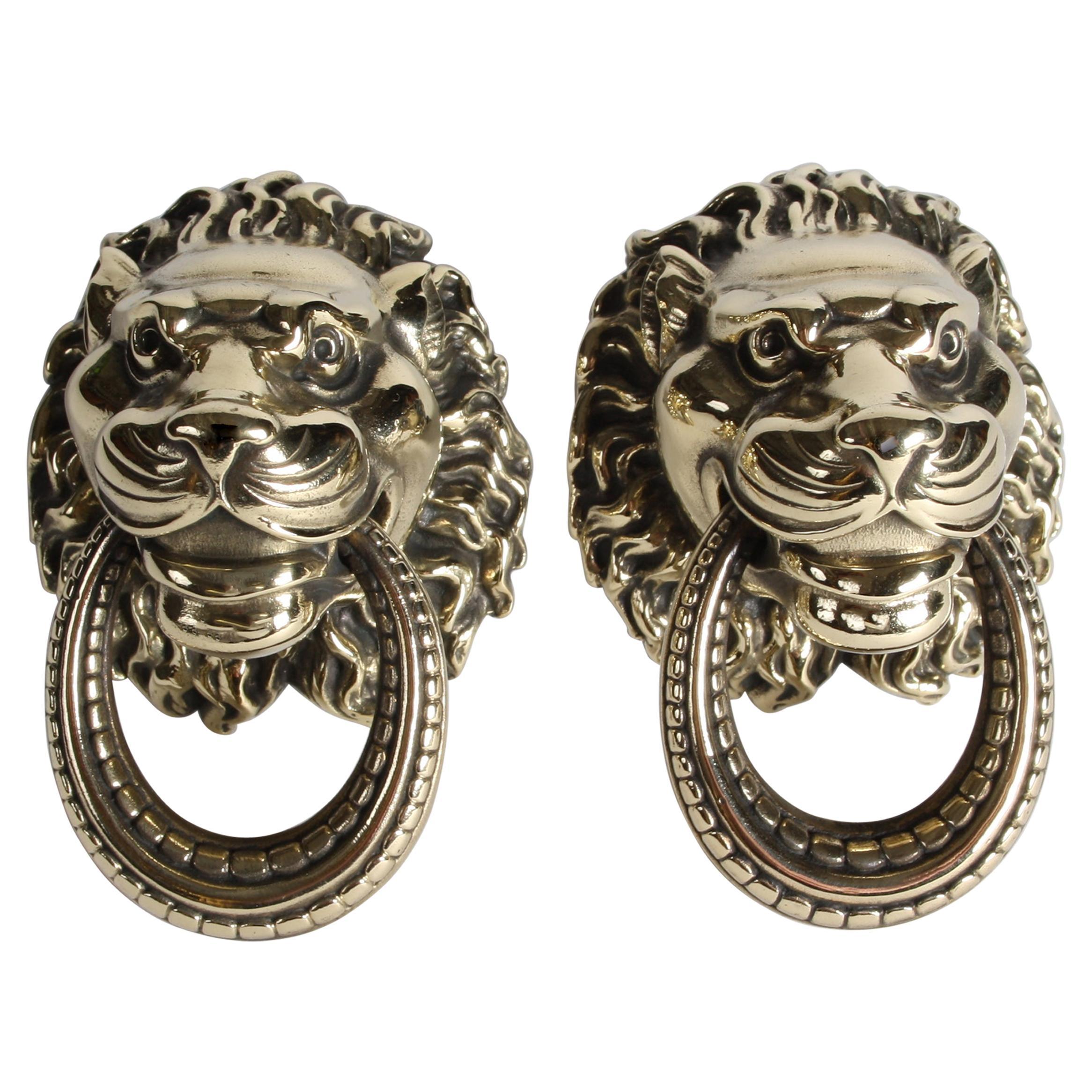 Pair of 19th Century Brass Lions Head Door Pulls