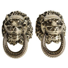 Pair of 19th Century Brass Lions Head Door Pulls