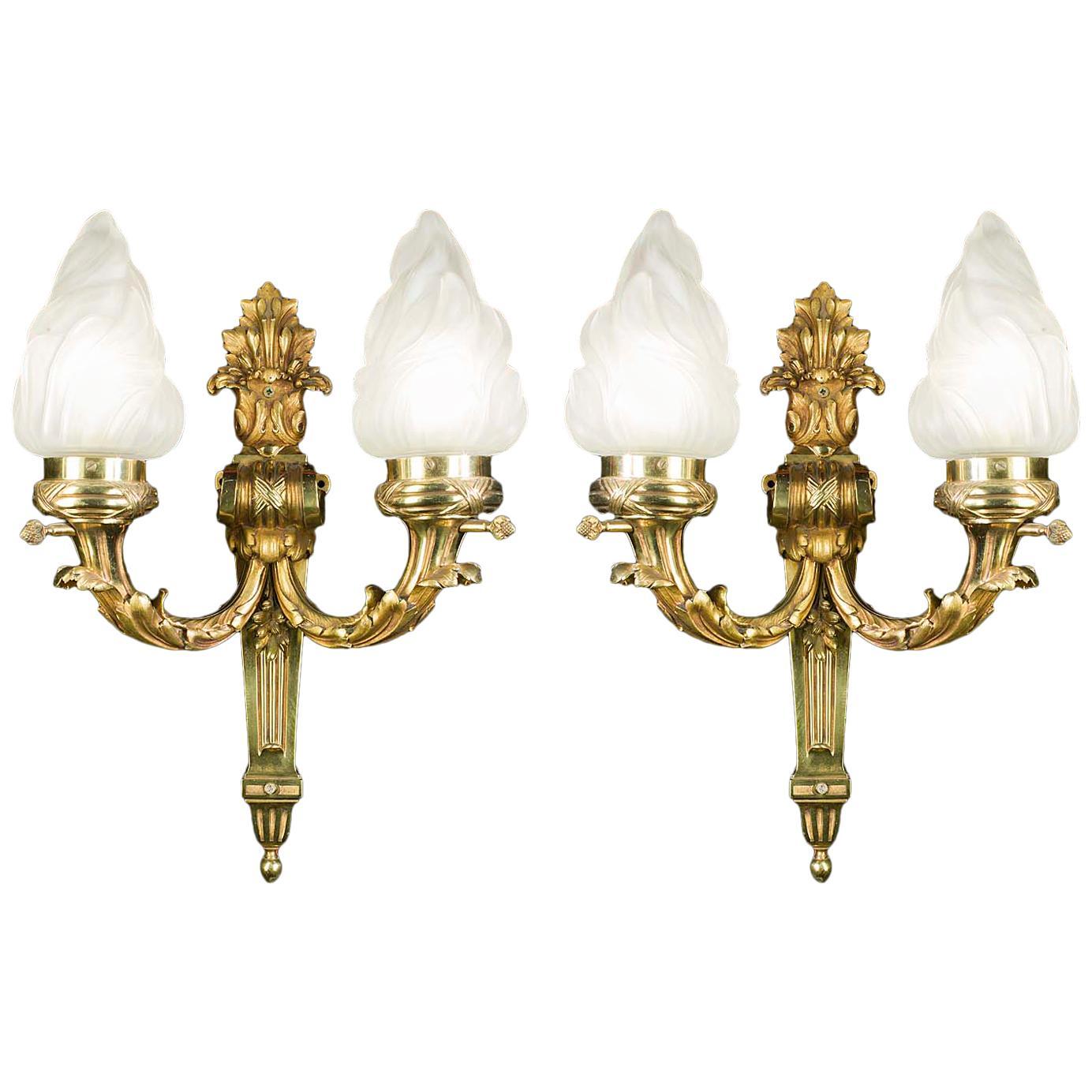 Pair of 19th Century Brass Victorian Wall Lights