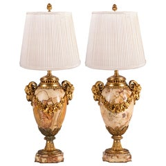 Pair of 19th Century Breccia Marble and Ormolu Urn Vases / Lamps