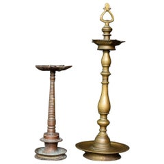 Pair of 19th Century Bronze and Brass Stamped Indian Temple Oil Burning Lamps