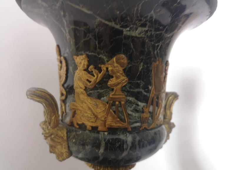Pair of 19th Century French Bronze And Gilt Marble Urns For Sale 2