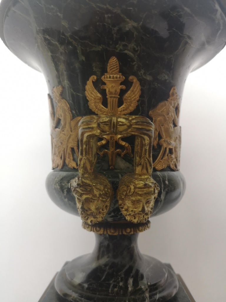 Pair of 19th Century French Bronze And Gilt Marble Urns For Sale 4