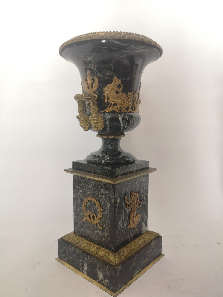 Pair of 19th Century French Bronze And Gilt Marble Urns For Sale 5