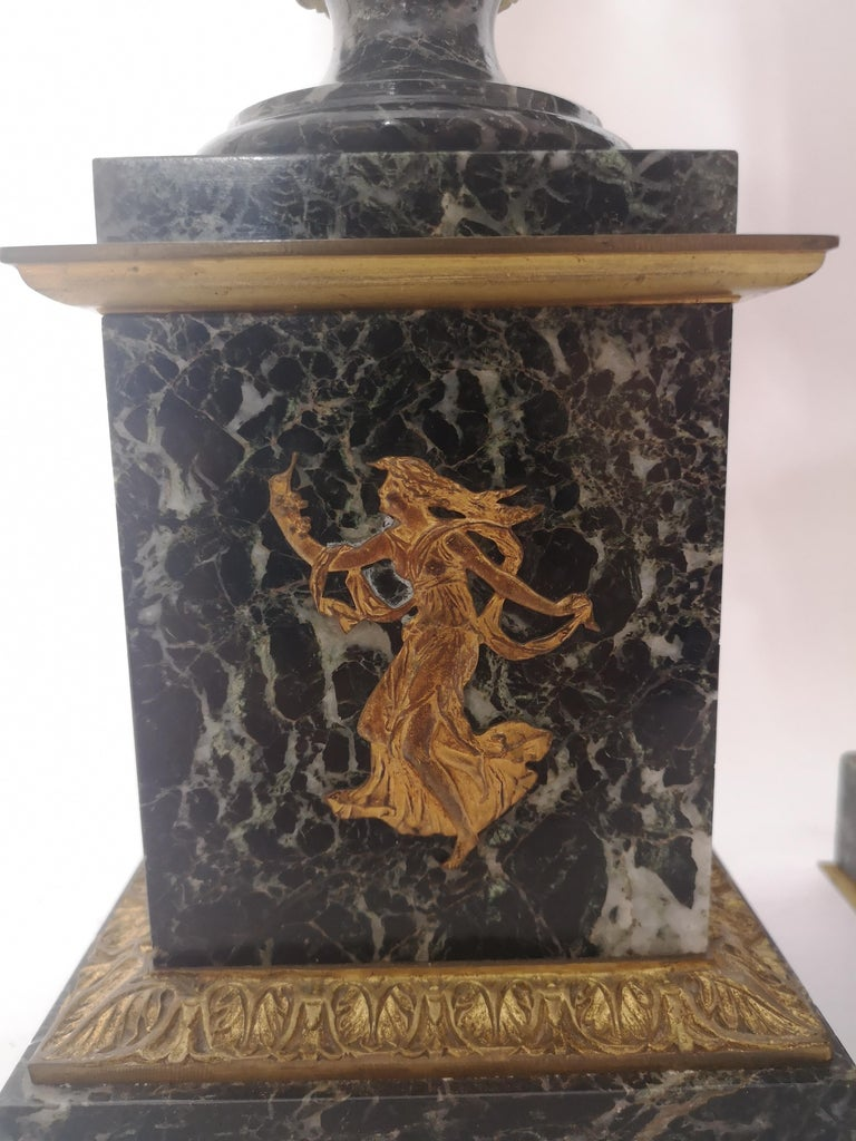 Pair of 19th Century French Bronze And Gilt Marble Urns For Sale 6