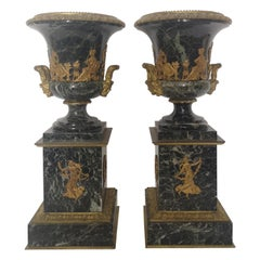 Pair of 19th Century French Bronze And Gilt Marble Urns