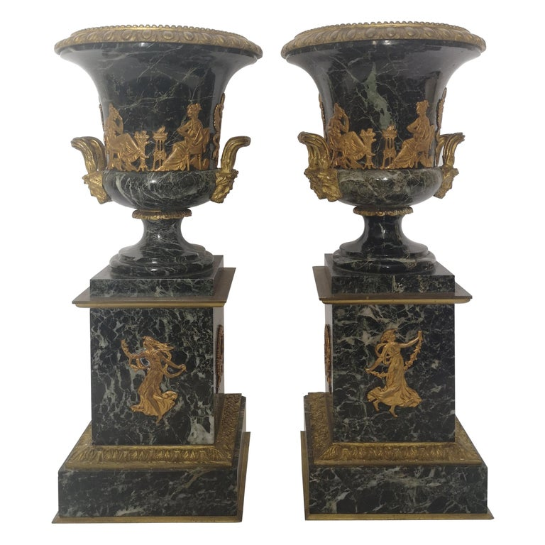 Pair of 19th Century French Bronze And Gilt Marble Urns For Sale