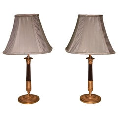 Pair of 19th Century Bronze and Ormolu Candlestick Lamps
