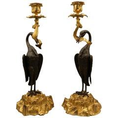 Pair of 19th Century Bronze and Ormolu 'Heron' Candlesticks