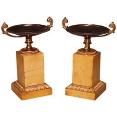 Pair of 19th Century Bronze and Ormolu Tazzas