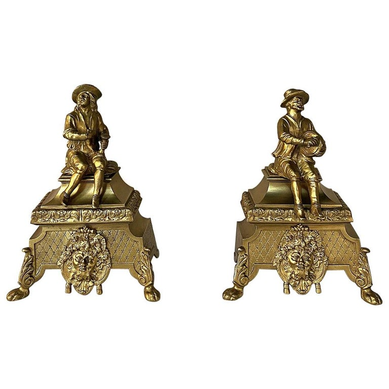 Pair of 19th Century Bronze Andiron Bookends For Sale