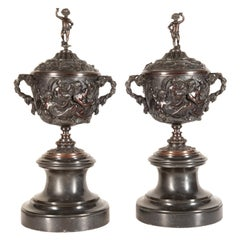 Pair of 19th Century Bronze Bacchus Style Urns