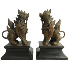 Pair of 19th Century Bronze Dogs of Foo Thai Temple Guards