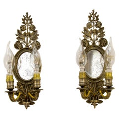 Pair of 19th Century Bronze Floral Mirrored Wall Sconces