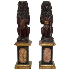 Pair of 19th Century Wood Carved Lion Statues on Faux Marble Bases