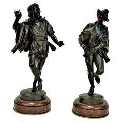 Pair of 19th Century Bronze Male Figure Neapolitan Dancers by Pradier