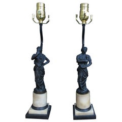 Pair of 19th Century Bronze and Marble Neoclassical Figures as Lamps