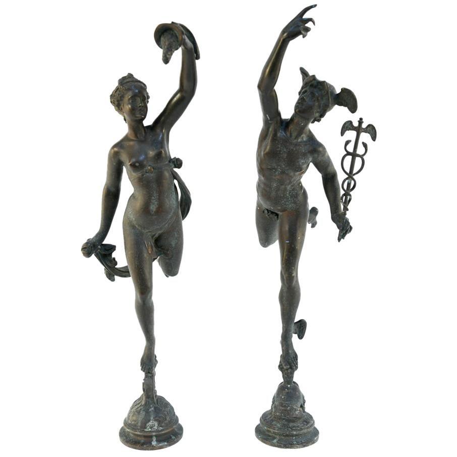 Pair of 19th Century Bronze Mercury and Venus Sculptures
