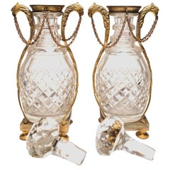 Pair of 19th Century Bronze-Mounted Decanters