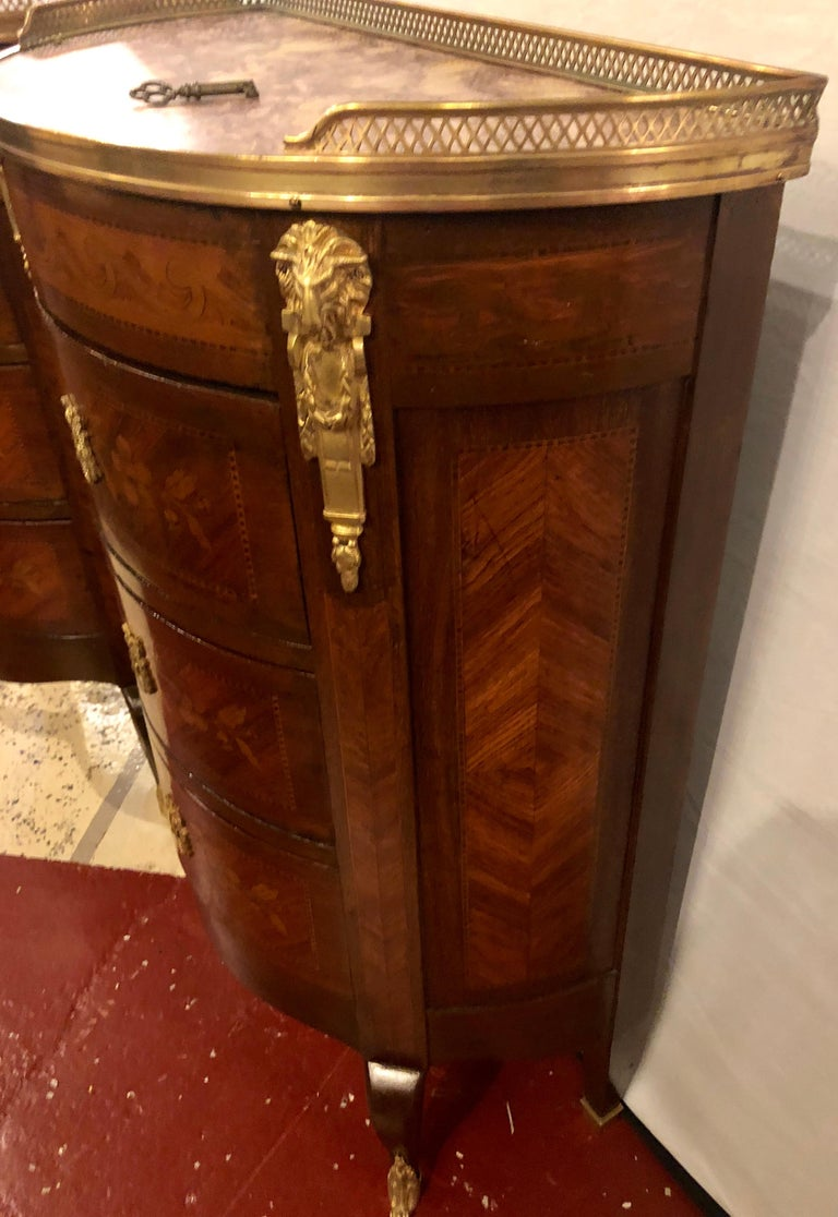 Pair of 19th Century Bronze Mounted Demilune End Tables or Nightstands For Sale 5
